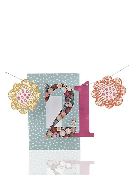 Floral Swirls Bunting Age 21 Birthday Card For Her Ms