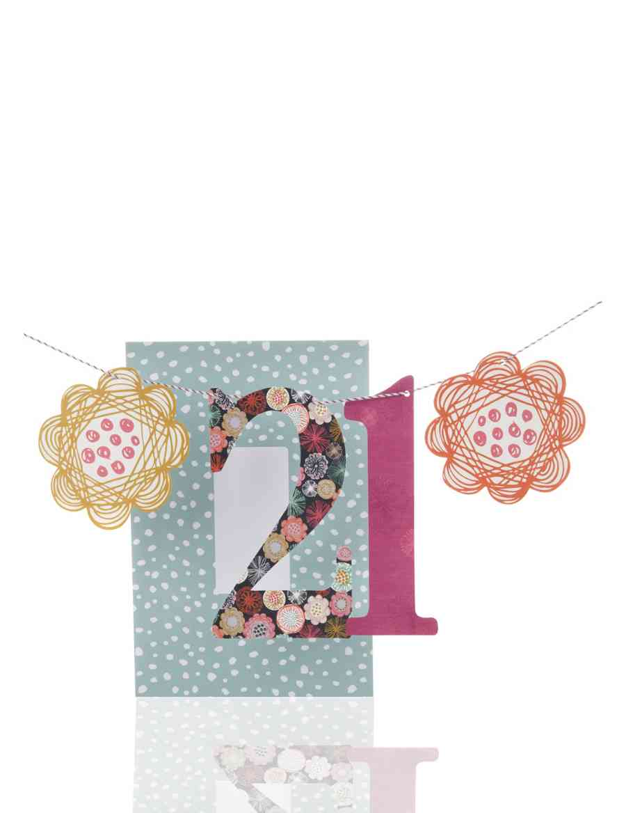 Floral Swirls Bunting Age 21 Birthday Card For Her