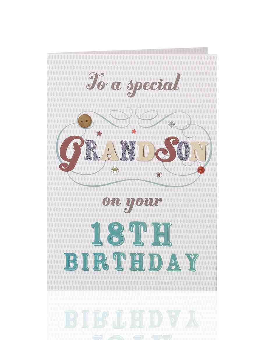 Classic Letters 18 Grandson Birthday Card