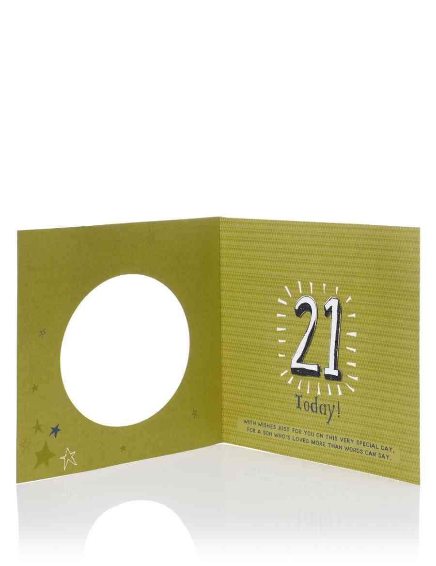 Large Green Stars Age 21 Son Birthday Card