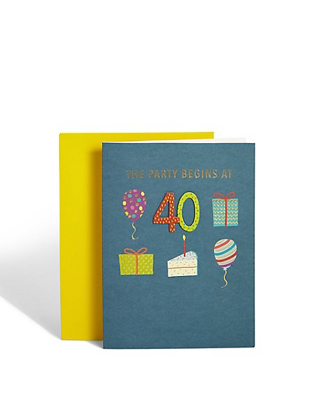 Age 40 Birthday Icons Card