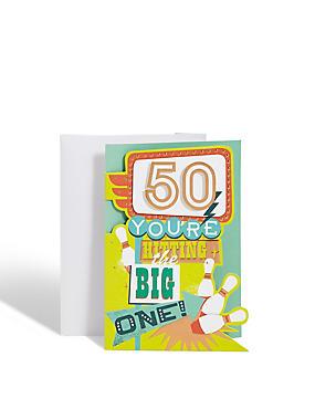 Age 50 Bowling Birthday Card