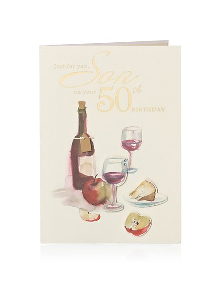 Product Images Skip Carousel Illustrative Cheese Wine 50 Son Birthday Card