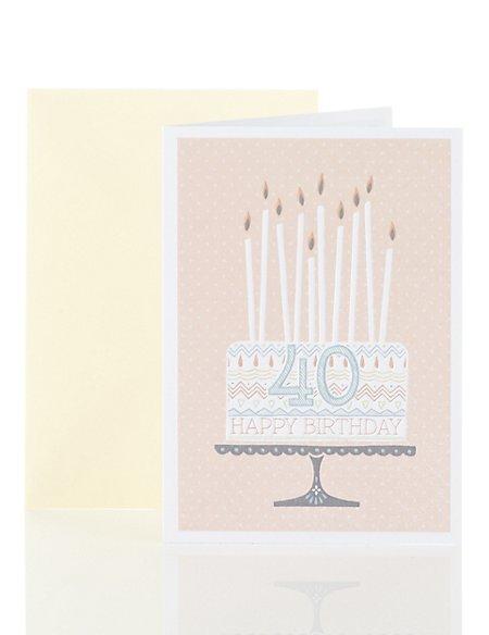 Cute Cake 40th Birthday Card