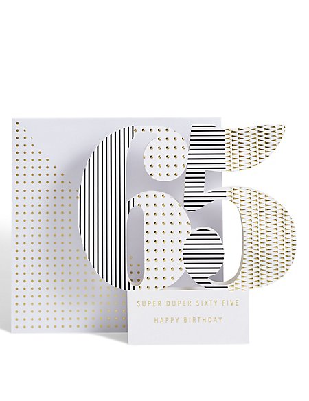 Age 65 3-D Pop up Birthday Card
