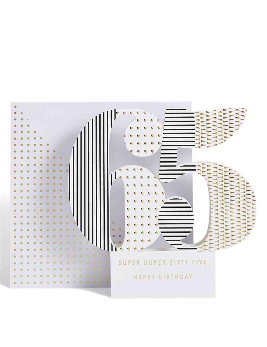 Age 65 3 D Pop Up Birthday Card