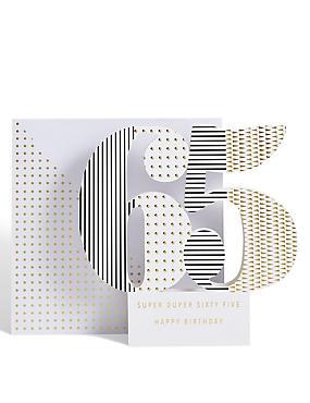 Age 65 3-D Pop up Birthday Card