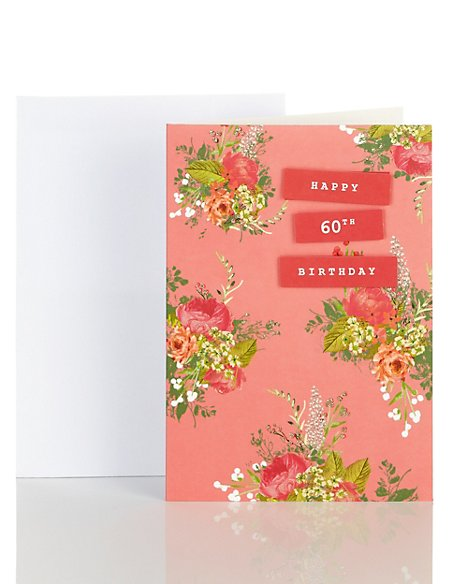 Water Colour Floral 60th Birthday Card