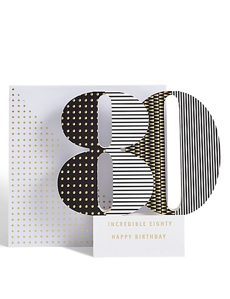 Age 80 3-D Pop up Birthday Card
