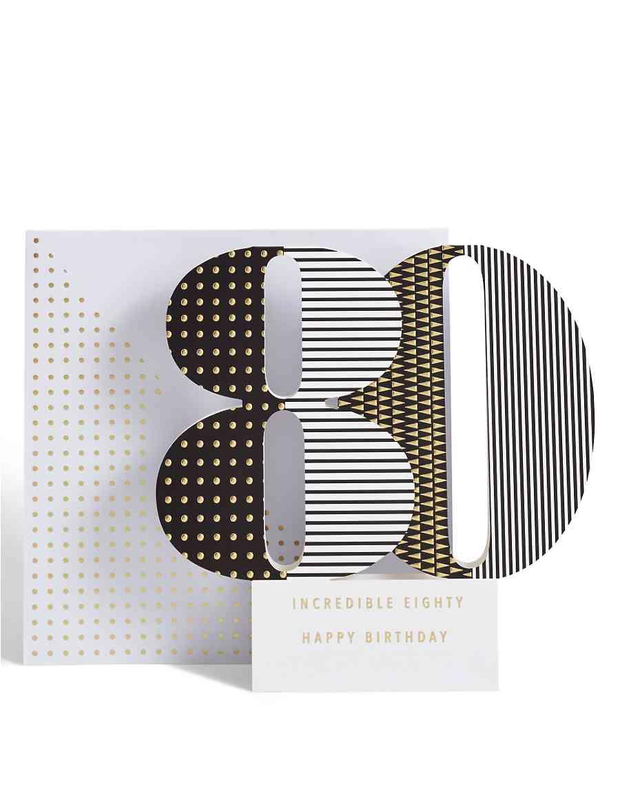 Age 80 3 D Pop Up Birthday Card