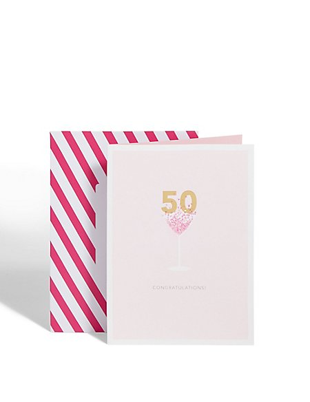 Age 50 Cocktail Glass Birthday Card