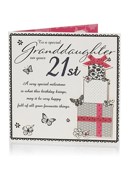 Product Images Skip Carousel Black White Presents 21st Granddaughter Birthday Card