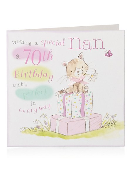 Product Images Skip Carousel Illustrative Cat 70th Nan Birthday Card