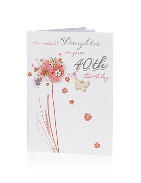Product Images Skip Carousel Pastel Floral Butterfly 40 Daughter Birthday Card