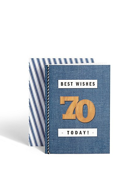 Age 70 Wooden Birthday Card
