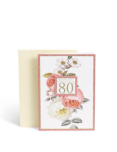 Floral 80th Card