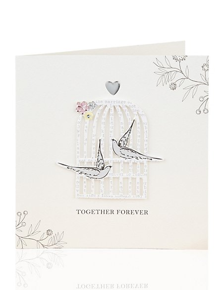 Bird Cage Wedding Card