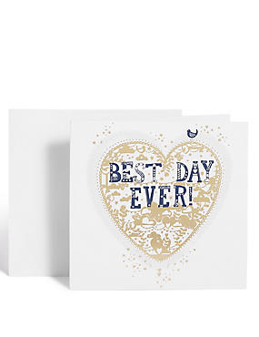 Best Day Ever Gold Heart Card