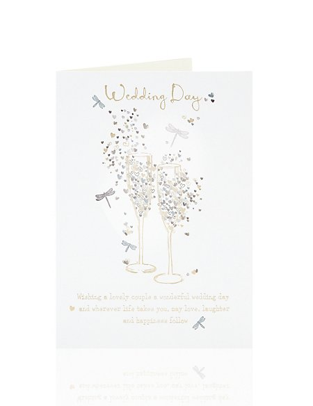 Gold Champagne Wedding Card