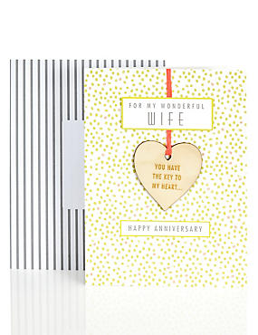Anniversary cards wedding anniversary cards ms wife wooden heart anniversary card m4hsunfo