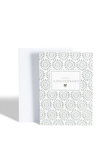 Embossed Silver Happy Anniversary Card