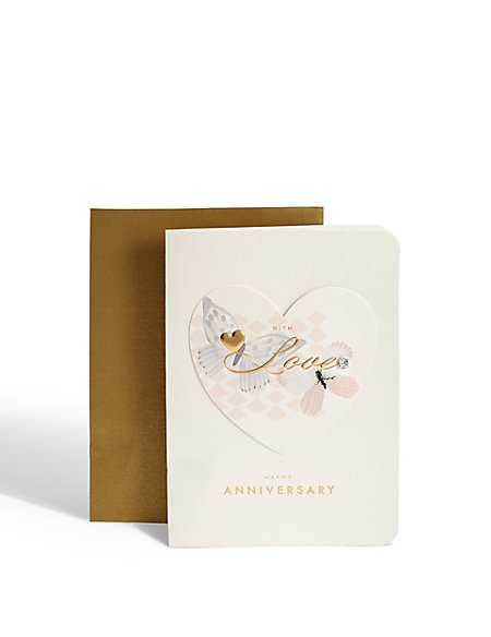 Heart and Butterfly Anniversary Card