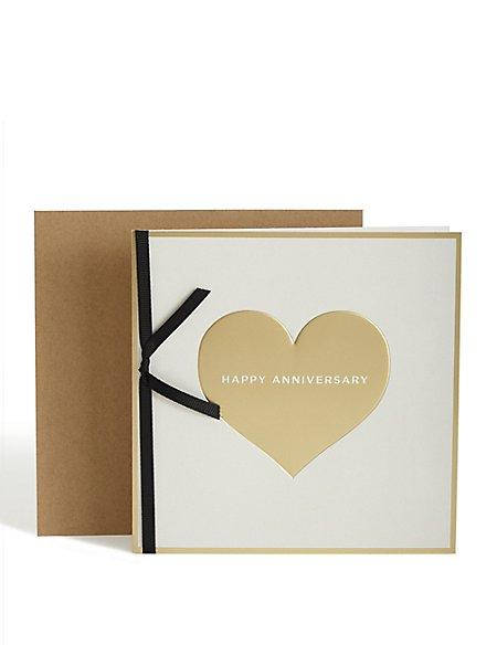 Gold Heart Anniversary Card