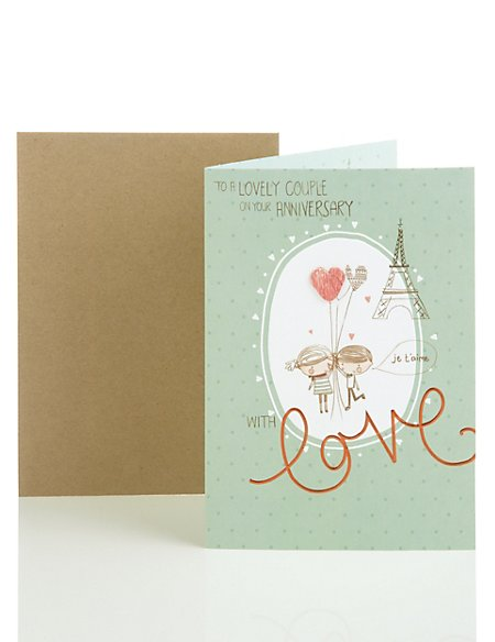 Eiffel Tower Cute Couple Anniversary Card