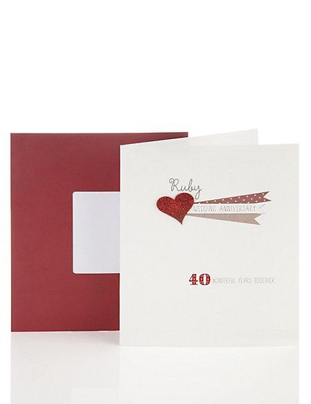 Glitter Ruby Wedding Card