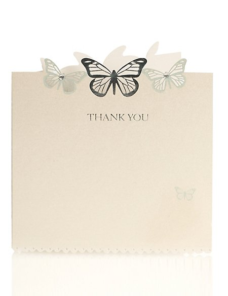 6 Aqua Butterfly Thank You Cards
