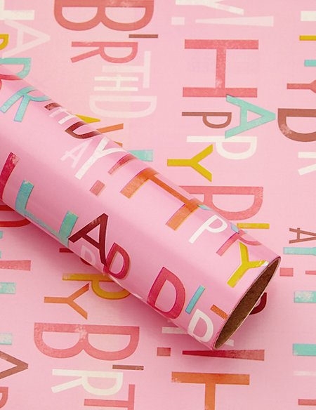 Happy Birthday 2 Meter Roll Wrapping Paper