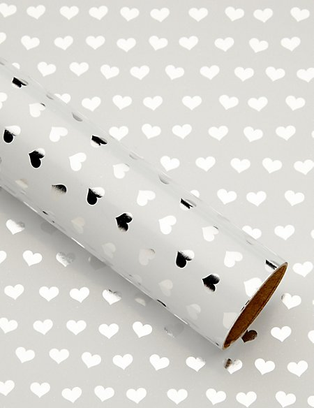 Polka Dot Hearts 1.5 Meter Roll Wrapping Paper