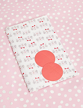 Pink Polka & Cat Wrapping Paper