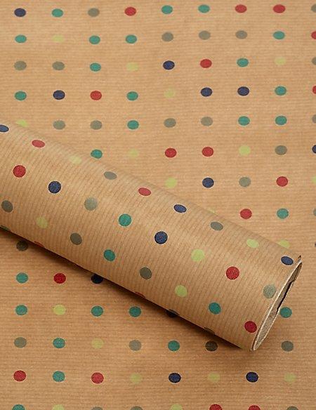 Dotty Kraft 2m Wrapping Paper