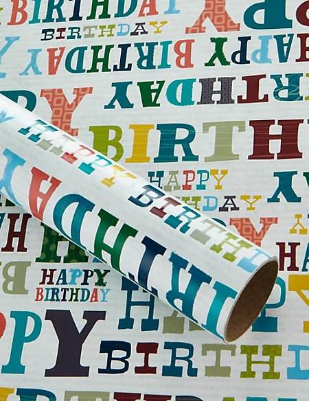 2m White Happy Birthday Wrapping Paper