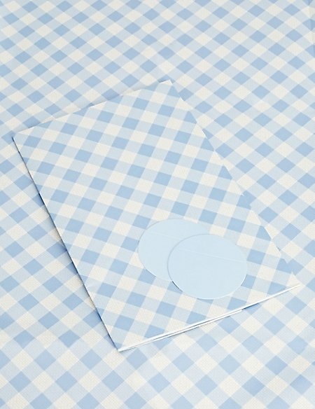 Blue Gingham Sheet Wrapping Paper