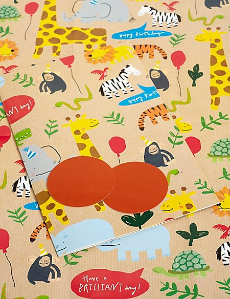 Zoo Animals Birthday Sheet Wrapping Paper
