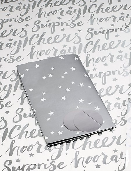 Silver Star & Text Sheet Wrap