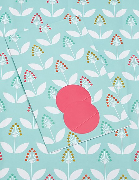 Light Blue Floral Print Sheet Wrapping Paper