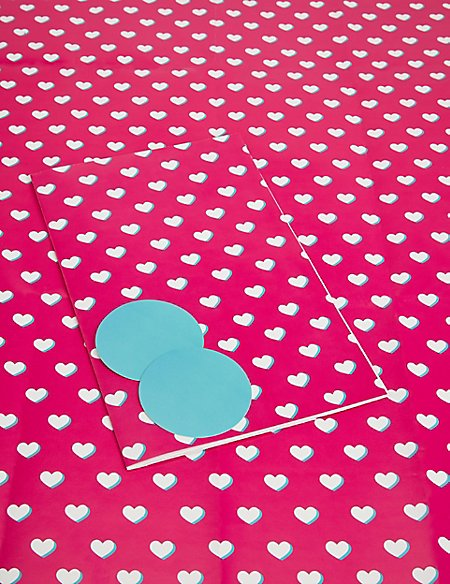Pink & White Hearts Wrapping Paper