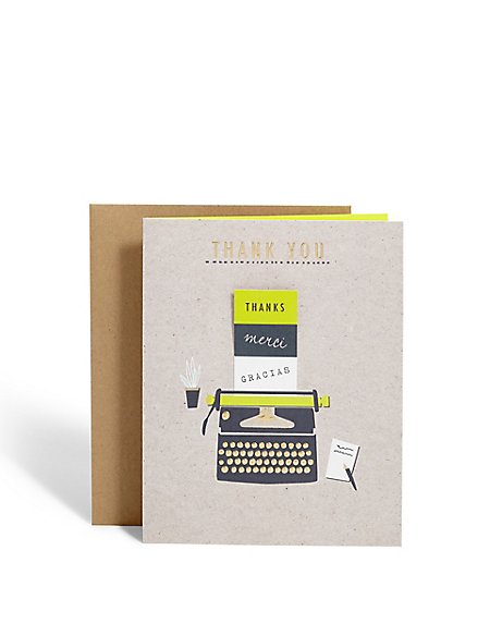 Typewriter Thank You Card
