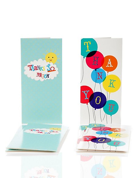 6 Bright Balloon Sunshine Thank You Duo Multipack Cards