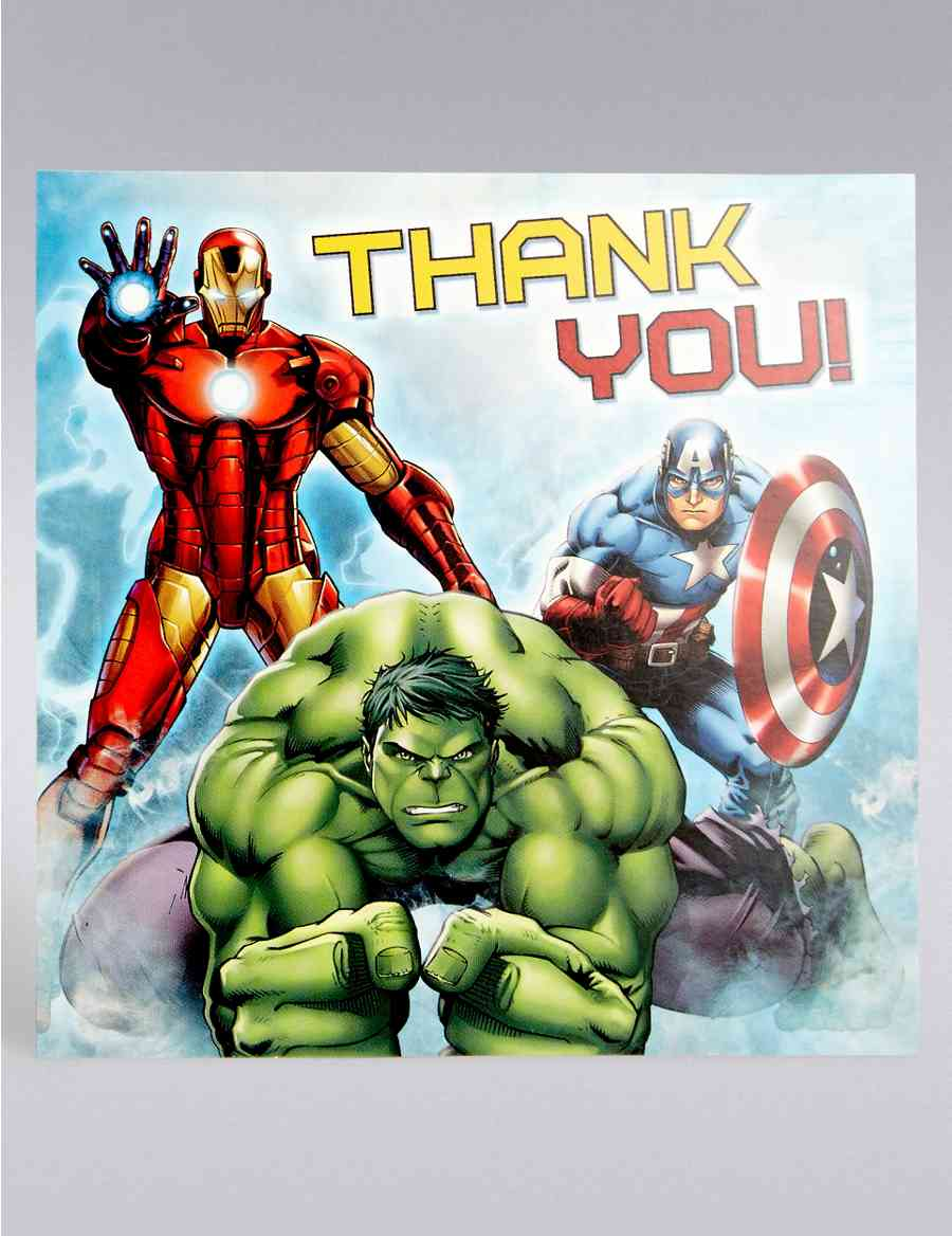 Marvel Avengers Thank You Cards M S