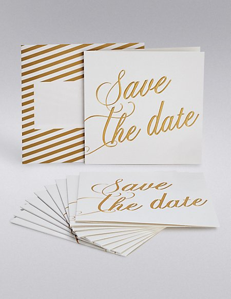 Gold Calligraphy Wedding Save The Date Cards