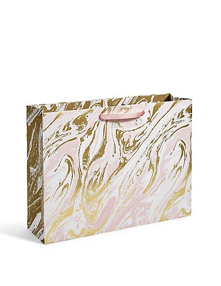 Peach & Gold Foil Oily Large Gift Bag