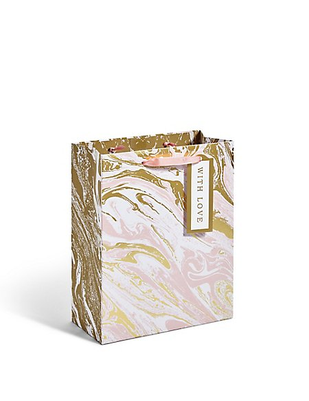 Peach & Gold Foil Oily Medium Gift Bag