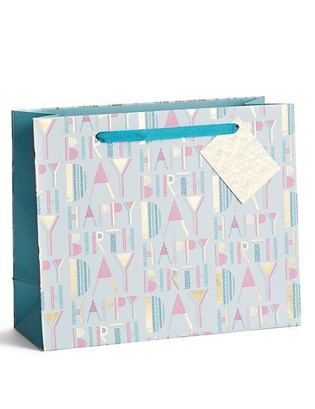 Happy Birthday Pastel & Gold Medium Gift Bag