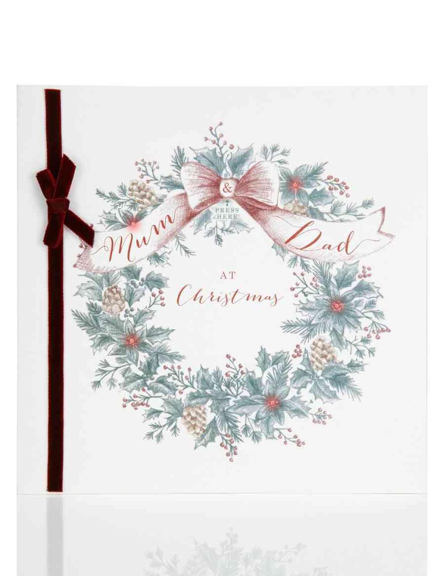 Mum & Dad Light-Up Festive Wreath Christmas Card   M&S