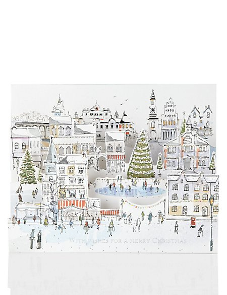 4 3D Festive Town Scene Christmas Cards
