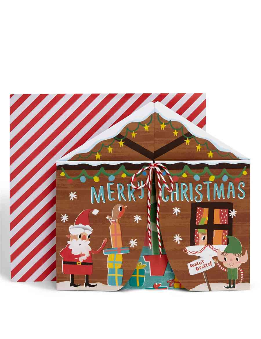 fold out santas grotto christmas card